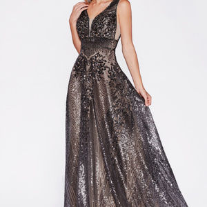 Dark-Silver A-Line Evening Long Dress